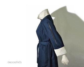 Vintage Marine Blue Bonnie Cashin Coat // 70s Slash Sleeve Cashin Raincoat