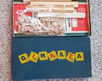 GINASTA BOARD GAME, 1950 s, boxed, instructions, letters, numbers, vintage pasttime