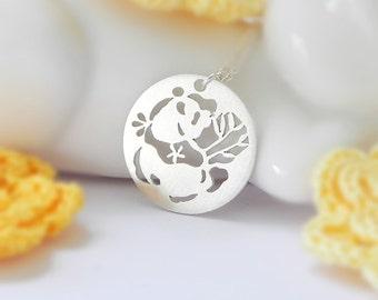 Panda no.2 Necklace, Sterling Silver