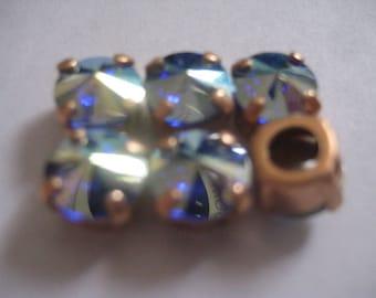Lot of 6 8mm Sapphire AB Swarovski Rivoli Cut 1122 Rhinestones in Brass Sew On settings