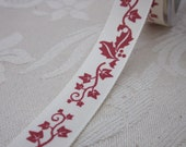 2 Metres Red and Ivory Ivy Leaf Ribbon