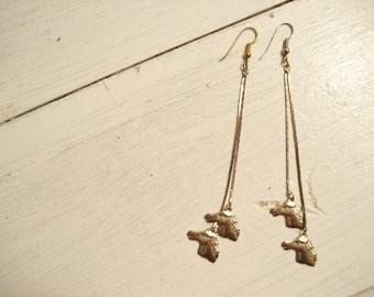 Vintage Horse Equestrian Metal Long Dangle Earrings- Pierced