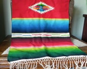 Vintage southwestern wool textile table runner  serape throw rug -  bright colors