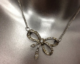 ON SALE! Upcycled 1960s Rhinestone Bow Necklace