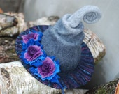 Adorable witch wizard hat with flowers grey purple violet. Custom colors, any sizes. Halloween costume, LARP