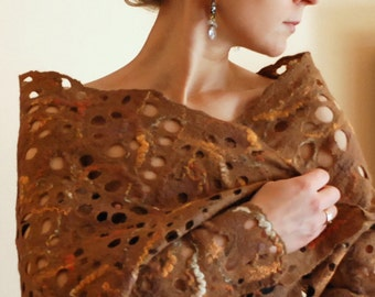 Felted cobweb scarf wrap shawl brown from Merino wool thin and soft HANDMADE TO ORDER