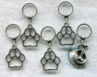 Dog Knitting Stitch Markers Paw Print Love My Dog Puppy Pup Rover Set of 5/SM128A