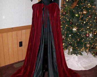 Renaissance Medieval Hooded Cloak VELVET Cape Wicca Witchcraft