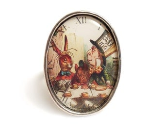 Alice in Wonderland ring The Mad Hatter's tea Party silver adjustable TEA TIME
