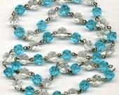 "Vintage Chandelier Beaded Chain English Cut Beads 10mm Aqua Blue & Clear 24"" Long"