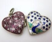 Silver Enamel Peacock Heart Locket - Thai Reversible