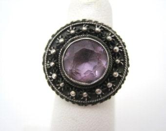Vintage Amethyst Ring - Sterling Silver Boho Style