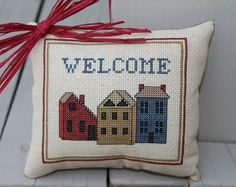 Welcome Houses Completed Cross Stitch Pillow  Housewarming Gift Made to Order
