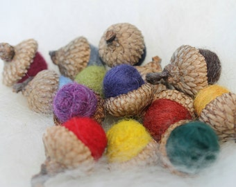 Wool Felted Acorns Multi Colored, Set of 15 Home Decor Nature
