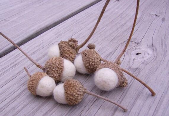 White needle felted swamp oak acorns home decor