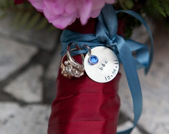 custom bouquet charm - personalize with names, initials, date