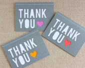 Note Card Set / Thank You / Heart / Grey / A6 / Set of 6