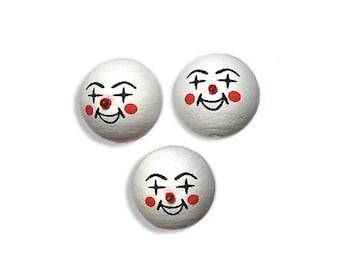 3 Spun Cotton Clown Heads Czech Republic  SC 109