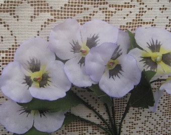Czech Republic Millinery Fabric Pansy Pansies Flowers Lavender NFC 048 LB