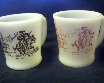 Milk Glass Fire King Davy Crockett Mugs Set of Two Red and Black Graphics