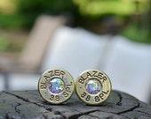Bullet Earrings stud earrings or post earrings Blazer .38 Special earrings gold earrings bullet jewelry with Swarovski crystals