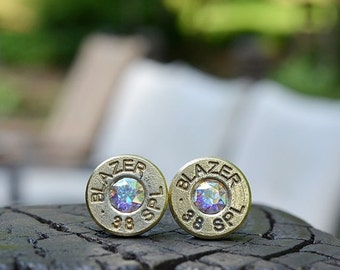 Bullet Earrings stud earrings or post earrings Blazer .38 Special earrings gold earrings bullet jewelry with Swarovski crystals