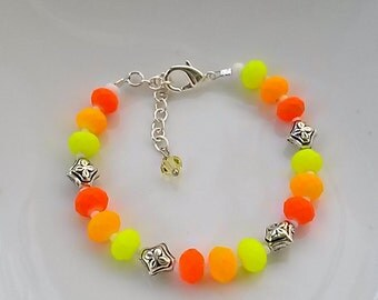 neon yellow, orange and coral bracelet with adjustable chain
