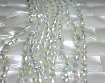 34pcs Chinese Crystal Glass Teardrop Beads Clear with AB Iridescent 6 by 4mm Small Jewelry Beads Jewelry Jewellery Craft Supplies