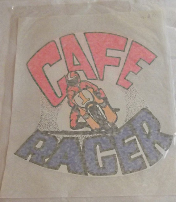 Vintage 70s cafe racer iron on transfer tee shirt iron on for 70 s t shirt transfers