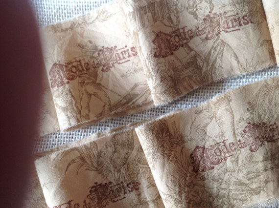 Taupe French Toile - Mode de Paris - Hand stamped trim