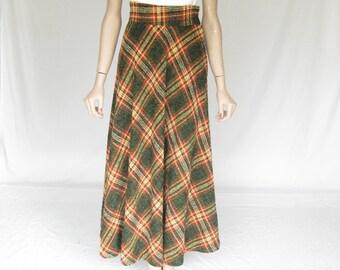 Vintage Plaid Boho Maxi Skirt.   X Small