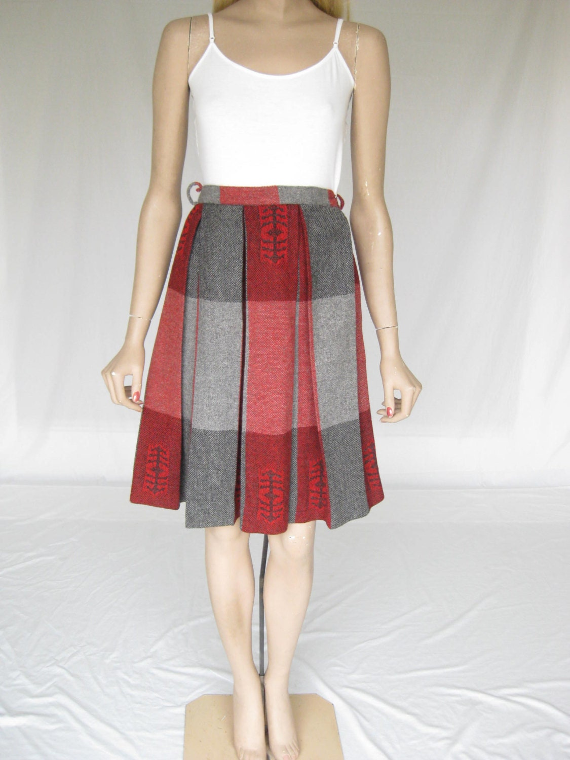vintage 50s wool pleated plaid skirt x small by