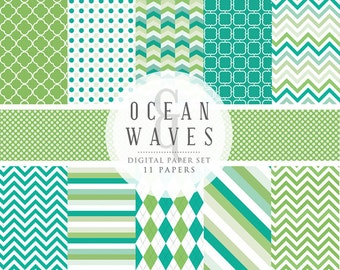 Digital papers for scrapbooking - blue green chevron paper, polka dots, argyle, teal, quatrefoil, ocean, for personal and commercial use