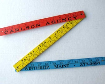 Vintage 1970's Wooden Advertising Folding Ruler, Yard Stick in Red Yellow and Blue