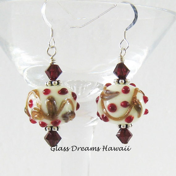 Holiday Glass Dangle Earrings, Festive Glass Dangle Earrings, Hawaii Lampwork Glass, Decorative Lampwork Beads, Handmade Handmade Lampwork