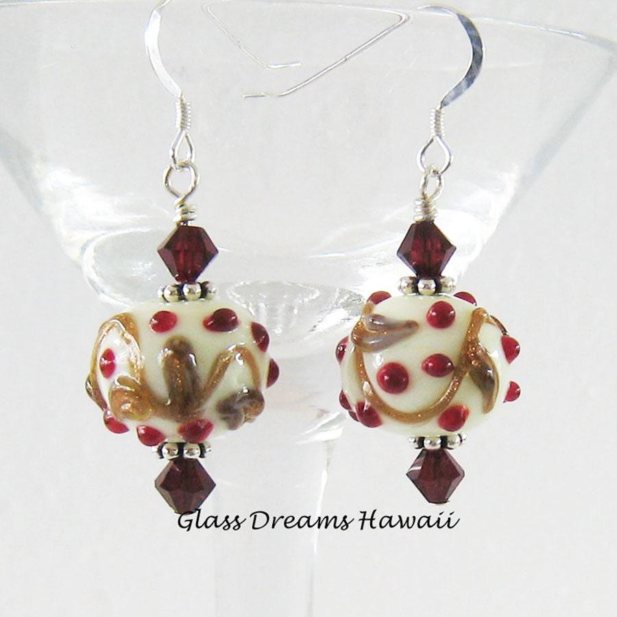 Holiday glass dangle earrings festive