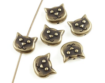 Cat Beads - Antique Brass Beads - TierraCast KITTY FACE Brass Oxide Beads - Bronze Beads (P1215)