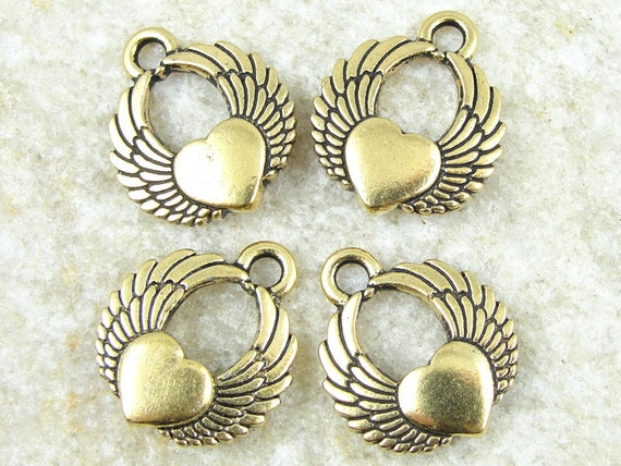 TierraCast Winged Heart Charms - Antique Gold Charms - Tierra Cast Pewter Tattoo Charms (P792)