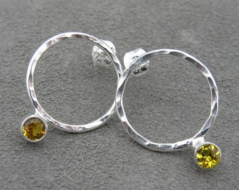 Gem Drop - Silver Earrings - Citrine