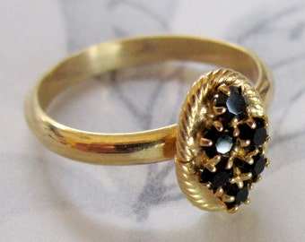 vintage prong set rhinestone adjustable ring - j4548