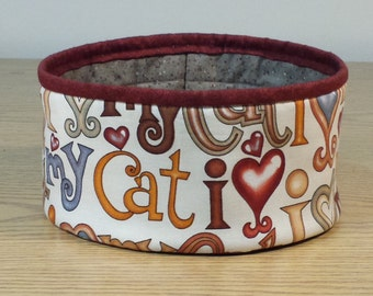 Quilted Fabric Bowl - I Love My Cat (UNbowlQ)