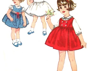 Child's Jumper Pattern 1960s Children's Vintage Simplicity Sewing Blouse Slip Toddler Girl's Size 1