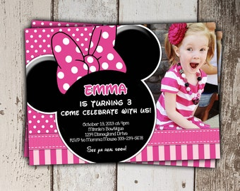 SALE - Pink Minnie Mouse Invitations - Birthday Invitations with photo - print yourself JPG