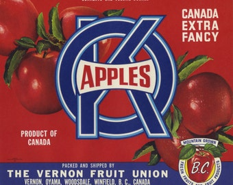 4 Different Apple Crate Labels from Canada