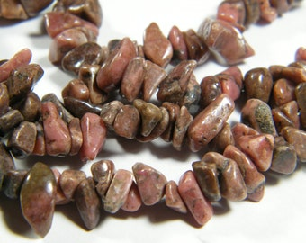 36 inch strand dark Rhodonite (natural), chip beads