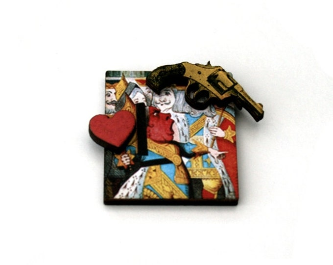 Alice in Wonderland Brooch, Queen of Hearts Brooch, Tenniel Illustration, Altered Art, Mixed Media, Wood Jewelry