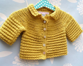 Baby Girl or Boy Cardigan - Hand Crochet Golden Baby Girl or Boy Sweater Size 6-9 Months (CARD106)