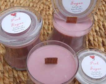 PINK SUGAR SOY Wooden Wick Candle 12 oz