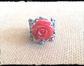 Oxidized Silver Scarlet Red Filigree Ring