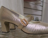 Vintage 1960's Mary Jane Heels Pumps Silvery-Gold with Gold Rhinestone Buckle Size 7N